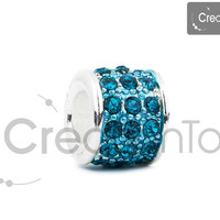 Charm for any Pandora bracelet enamel bead with stones, column shape bead