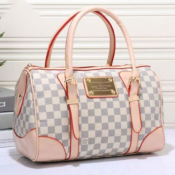 LV Fashion Trending Women Shopping Bag Leather Tote Handbag Shoulder Bag White plaid G-MYJSY-BB