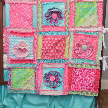 PATTERN, Rag Quilt with Ruffle Flower for Baby Size Blanket for Crib or Toddler Bed