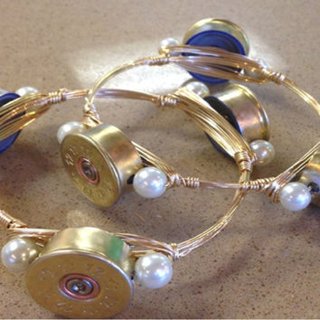 12 Gauge Shotgun Shell  Bangle Bracelet with Pearls!