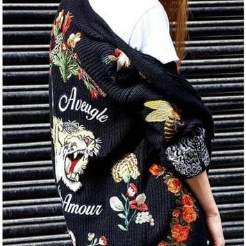 ''GUCCI' 'Women Buttons Embroidery Pattern Coat