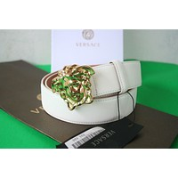 New Authentic men's Versace White Leather Medusa GOLD Buckle Belt 95/38 32-34