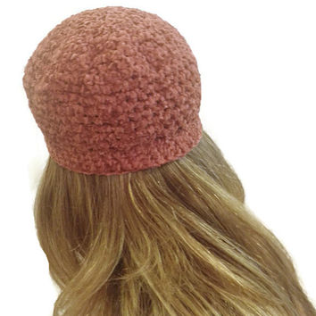Crochet beanie, mauve chenille hat, OOAK hat free USA shipping!