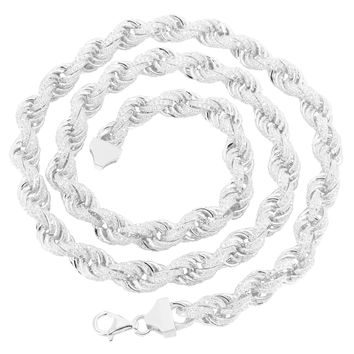 "Rope Link Necklace 24"" Simulated Diamond Iced Out Sterling 925 Silver 11mm Mens"