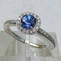 Engagement Ring Round Blue Sapphire in 14k Gold Diamond Halo Ring September Birthstone Gemstone Jewelry