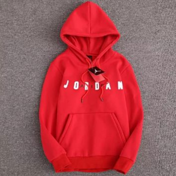 Jordan Fashion New Bust Letter Thick Keep Warm Couple Leisure Loose Couple Long Sleeve Hooded Sweater Red