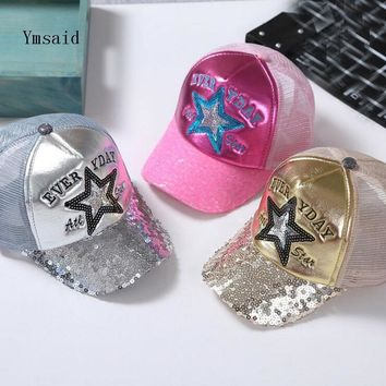 2018 Korean Children Hip Hop Baseball Cap Summer Five-pointed Star Sequins Kids Sun Hat Boys Girls Snapback Caps 2-8 Years