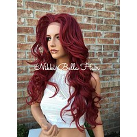 Billy Long Dark Red Voluminous Curls Human Hair Blend Multi Parting Lace front wig 26""