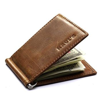 Genuine Leather Card Holder Cash Money Clip Wallet For Men