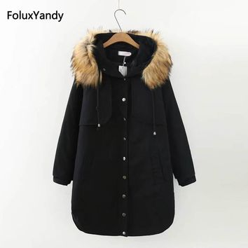 Winter Parkas Women Plus Size 3 4 XL Warm Faux Fur Trim Hooded Casual Long Parka Outerwear Black Red KKFY418