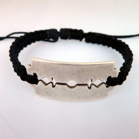 Unisex Braided Bracelet , Black macrame bracelet with a razor blade connector-gift under 15