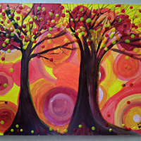 Whimsy Trees Encaustic and Acrylic Abstract Painting SFA
