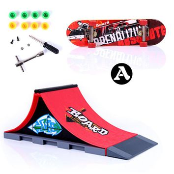 Fun Skate Park Ramp Track Finger Board Parts for Desk Fingerboard Indoor Table Game Finger Skateboard for Kids Adults