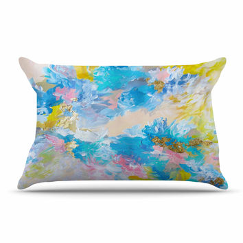 "Ebi Emporium ""When We Were Mermaids"" Blue Yellow Pillow Case"