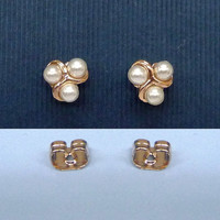 A rose gold plated swirl pearl earrings, A minimalist earrings, A cartilage/tragus ring