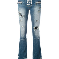 unravel ripped lace up flared jeans - Google Search
