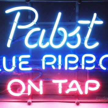Pabst Blue Ribbon On Top Neon Sign