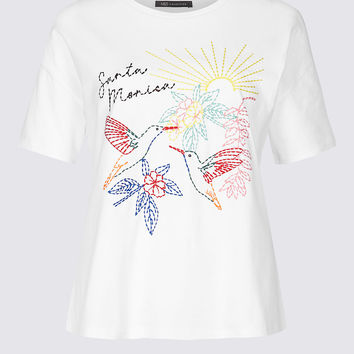Pure Cotton Embroidered Short Sleeve T-Shirt | M&S Collection | M&S