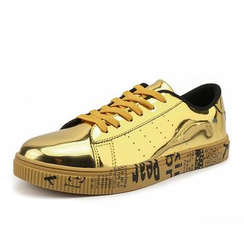 Plus Size 36-47 Lovers Gym Sport Shoes Men Skateboarding Shoes 2018 Male Sneakers Fitness Trend Flats Trainers Shiny Gold Silver