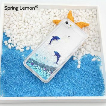 For iphone 6 Case Dolphin Penguin Polar Bear Ocean Blue Liquid Quicksand Glitter Case For iphone 7 7Plus 6Plus 5S 6S 8 8PLUS X