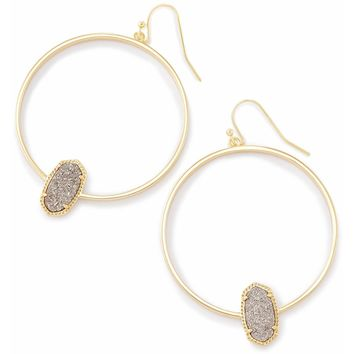Kendra Scott: Elora Gold Hoop Earrings In Platinum Drusy
