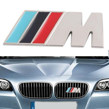 Big Mpower M-tech on Car Trunk Badge Emblem 3D Pure Metal Front Hood Grille Sticker logo M M3 M5 for BMW Car Styling Sticker