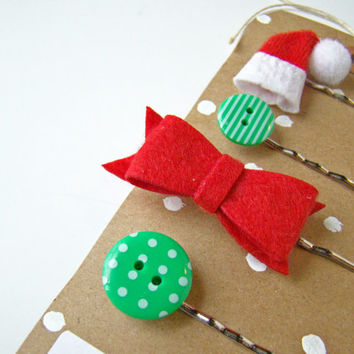 Christmas Bobby Pin Set, Girl Stocking Stuffer, Holiday Bobby Pins, Polka Dots, Holiday, Small Gift, Girl Gift