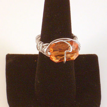 ROYALTY - Topaz Glass Wire Wrapped Ring Silver Aluminum