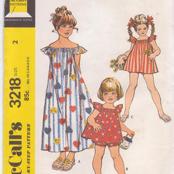 Vintage  1970s pattern for toddler girl summer peasant style dress or top with bloomers child size 2 breast 21 McCall's 3218 UNCUT