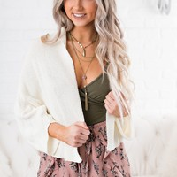Kristi Knit Cropped Cardigan (Off White)