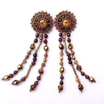 Red Tiger Eye Bead Embroidered Fringe Earrings - Beaded Tiger Eye, Birds Eye Rhyolite Bronze Gold Post Earrings