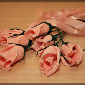 crepe paper flowers, 1 crepe rose, wedding flowers, wedding decoration, paper flower bouquets, ruffled crepe paper,