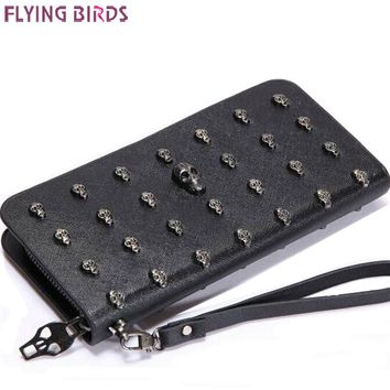FLYING BIRDS! SKULL women wallets