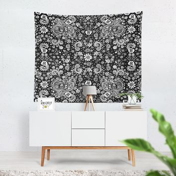 Tapestry Black and White 'Birds of a Flower'