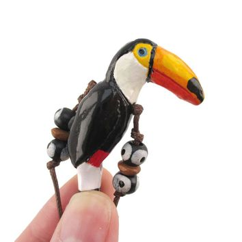 Handmade Toco Toucan Bird Shaped Hand Painted Whistle Pendant Necklace | DOTOLY