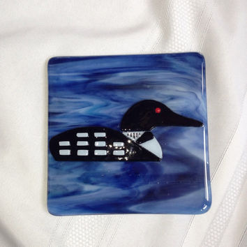 Handcut fused glass loon picture with easel picture frame back panel