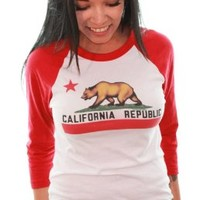 California Republic Unisex Baseball 3/4 Sleeve Raglan Jersey