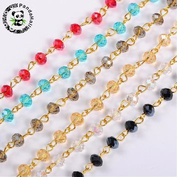 "6mm Handmade Abacus Glass Beads Golden Chains for Neckalces Bracelets Making DIY Jewelry Findings ,39.3""(1m)/Strand,5Strands/lot"