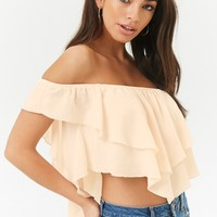 Tiered Crepe Off-the-Shoulder Crop Top