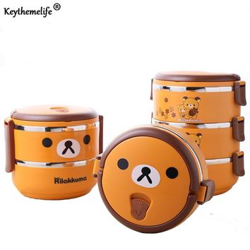Keythemelife Multilayer Cute bear Food Thermo Lunch boxs Kids Thermal Bento Lunchbox Platic PP+304 Stainless Steel 2D/D