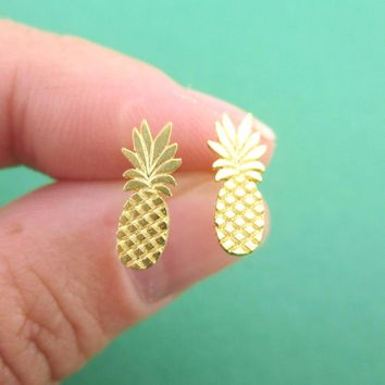 Tiny Pineapple Shaped Stud Earrings in Gold | Allergy Free Earrings