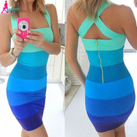Gagaopt 2016 Summer Dresses Women Bodycon Patchwork Colorful Sexy Bodycon Sheath Mini Sleeveless Dress Vestidos Vintage Robes
