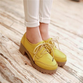 PXELENA Vintage Womens Round Toe Chunky Mid Heels Lace Up Brogue Oxford Shoes Plus Size US4.5-10.5