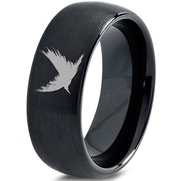 Bird Raven Crow Spattered Tungsten Ring