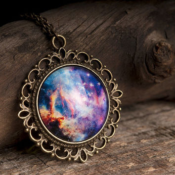 Galaxy necklace, nebula necklace, space necklace, galaxy pendant, space pendant, universe necklace, glass dome necklace, brass necklace