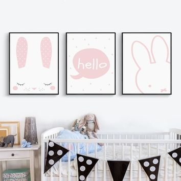 Cute Abstract Pink Bunny A4 A3 A2 Canvas Painting Posters And Prints Art Picture Wall Girl Room Baby Bedroom Home Decoration
