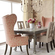 Haute House Benjamin Linen Chair, Pink Damask Wing Chair, & Liday Dining Table