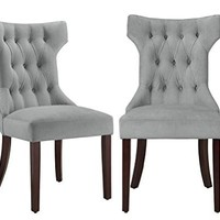 Dorel Living Clairborne Tufted Upholestered Dining Chair, Gray, Set of 2