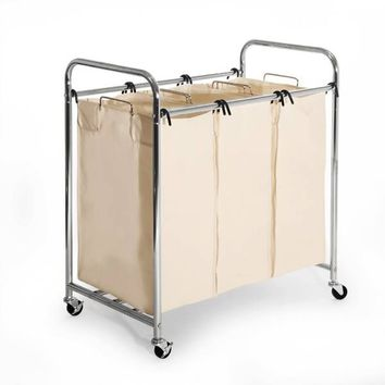 Seville Classics 3-Bag Heavy Duty Laundry Sorter Hamper Cart in Chrome