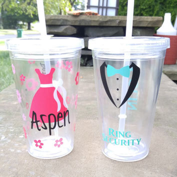 Ring Bearer And Flower Girl Tumbler Set, Ring Security / Petal Princess Set, Flower Girl Gifts, Ring Bearer Tumbler, Flower Girl Tumbler